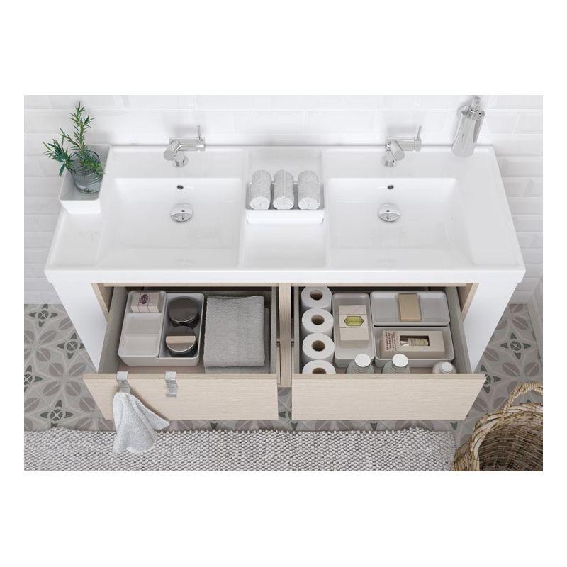 Mueble cuatro cajones con lavabo de resina dos senos for Muebles de resina para exterior