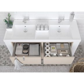 Mueble cuatro cajones con lavabo resina dos senos
