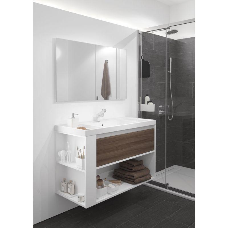 Mueble un cajon con lavabo resina un seno muebles de ba o for Lavabo doble seno con mueble