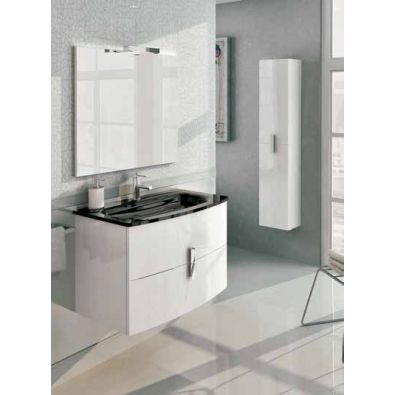 Mueble de baño ROUND+ Lavabo VITREO Negro